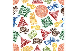 Mayan and aztec ornamental pattern