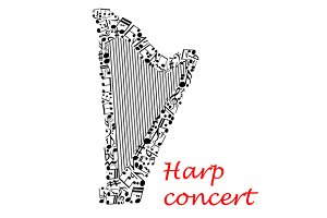 Harp music concert poster