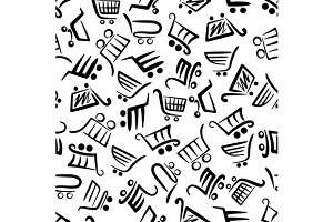 Shopping carts seamless pattern