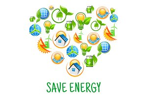 Heart with  save energy icons