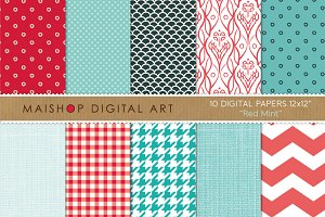 Digital Papers-Red Mint