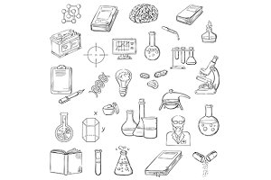 Science and laboratory sketched icon