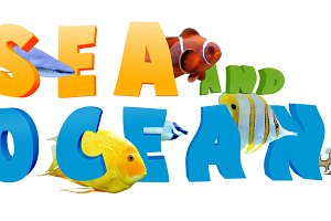 Word Sea and ocean with fish