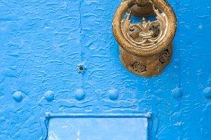 Blue door of Tanger in Morocco