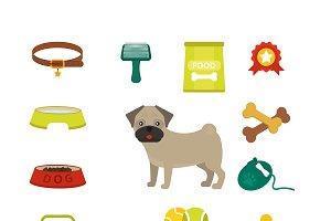 Pug dog symbols vector