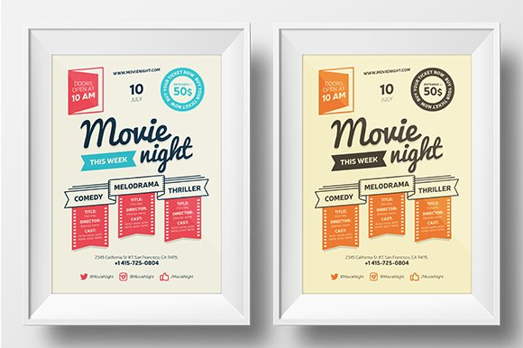Movie Night Poster Template Flyer Templates Creative Market