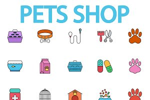 Pets shop icons set.