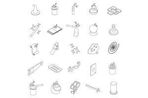 Magic icons set, isometric 3d style