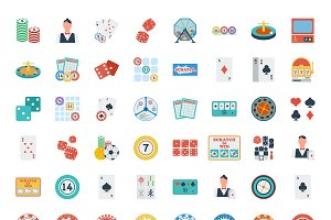 Casino vector icons set.