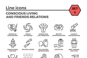 Conscious vector living icons set.