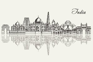 India hand drawn skyline