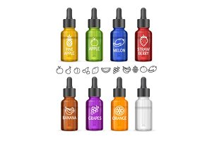 Colorful E-liquid Bottle Set. Vector