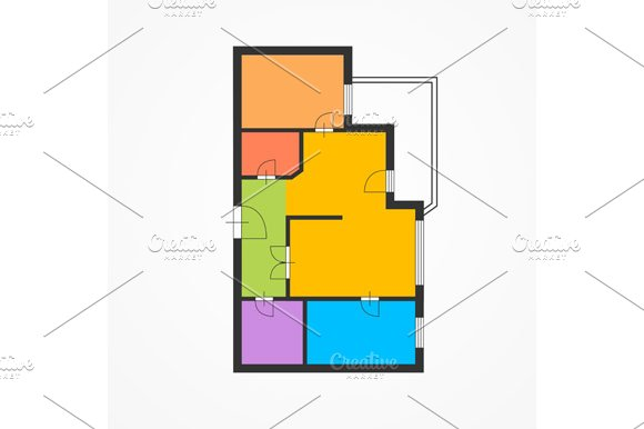 Colorful Flat Plan. Vector - Illustrations
