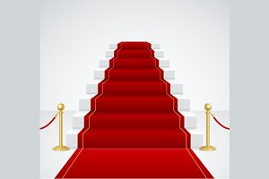 White Staircase and Red Carpet.