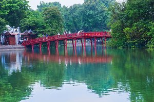 wooden red-painted bridge