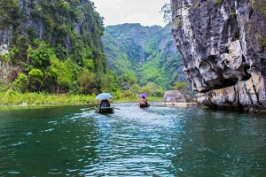 boat in Tam Coc portion,Ninh Binh