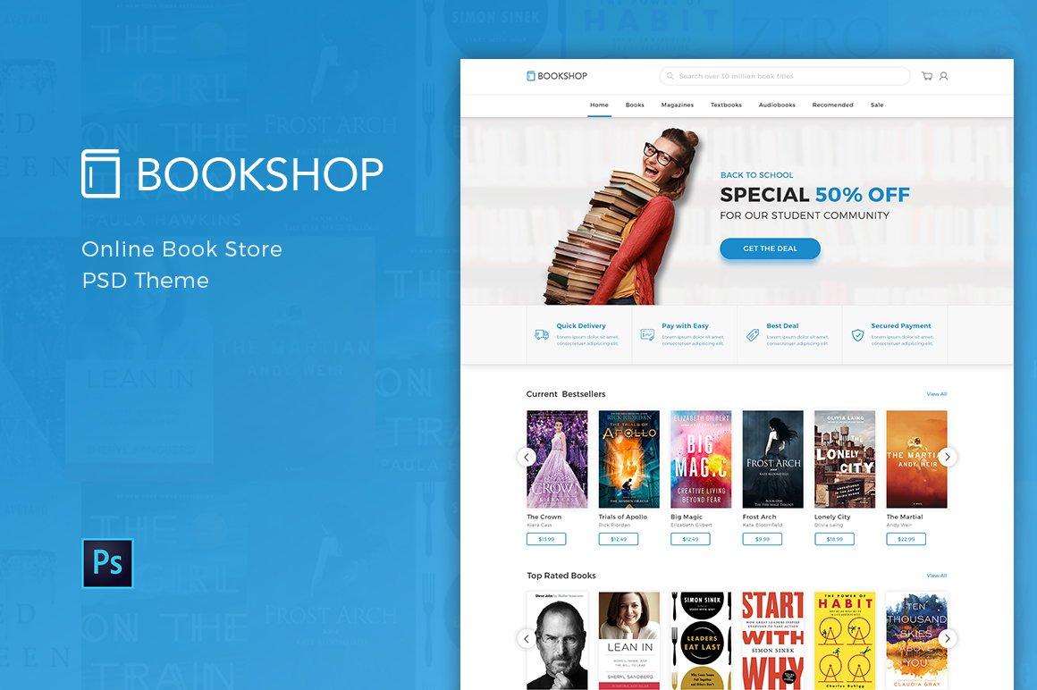 Bookshop Online Book Store Psd Website Templates