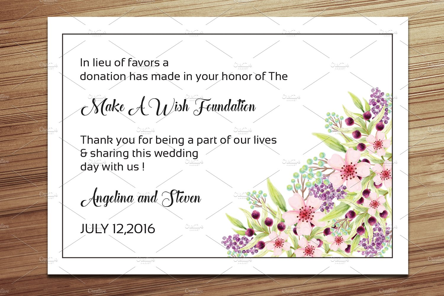 Wedding Favor Donation Card Template ~ Card Templates ~ Creative Market