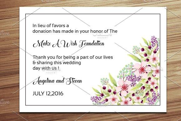 Wedding Favor Donation Card Template ~ Card Templates ~ Creative Market