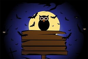 Happy Halloween background owl