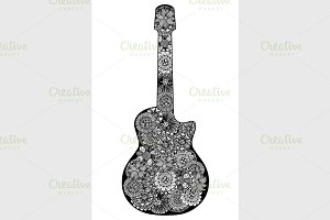Guitar. Hand drawn floral patterned
