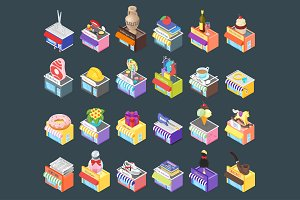 Different isometric shops