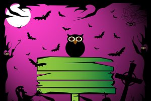 Happy Halloween with owl pink