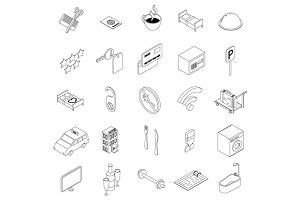 Hotel icons set, isometric 3d style