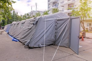 Military tent shelter on the street