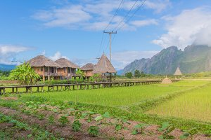 Cottage or hut in Vang Vieng, Laos.