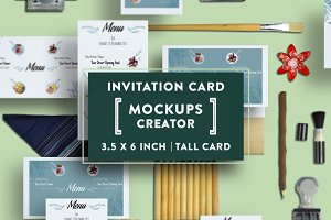 Invitation Card Mockups  3.5x6 In