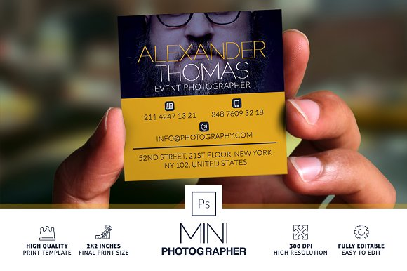 Mini Photographer Business Card Business Card Templates - Mini business card template