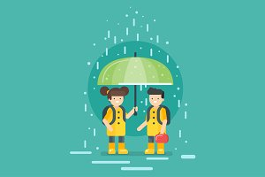 Rainy day at school