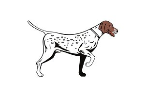 Dog Pointer Side View Retro