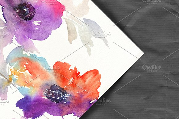 Abstract Watercolor Flower Card Templates Creative Market
