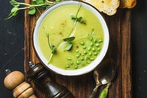 Fresh homemade pea cream soup