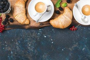 Freshly baked croissants & berries