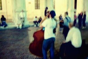 Street musicians. Bergamo. Blurry