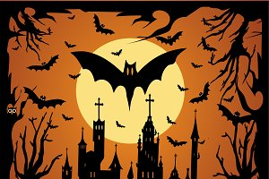 Happy Halloween background bat