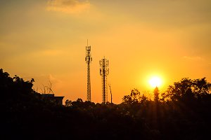 silhouette antenna with sunset