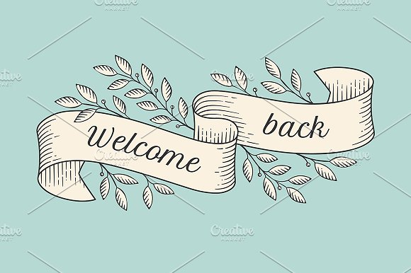 Greeting card. Welcome back - Illustrations