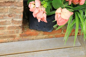 Flowers on outdoor window with red old vintage brick wall aside and wood platform - copy space