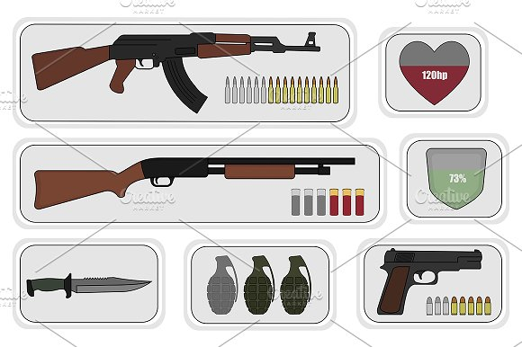 Army game resource set. Vector - Illustrations