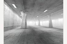 Empty Concrete Space. 3D Rendering