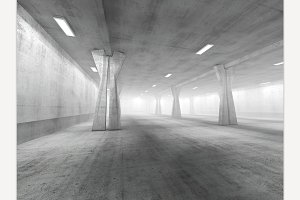 Empty Concrete Space. 3D Rendering