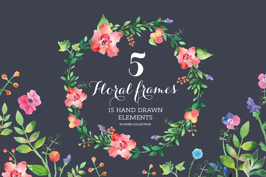 Set of watercolour Floral Frames. ~ Illustrations ~ Creative Market