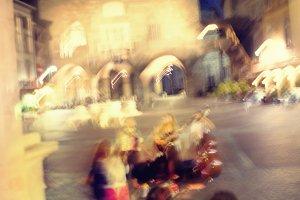 Street musicians. Blurry
