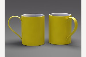 Yellow Mugs. 3D Rendering