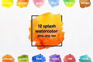 12 splash watercolor