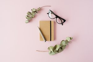 Craft diary and glasses